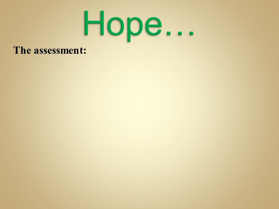 Hope… The assessment: