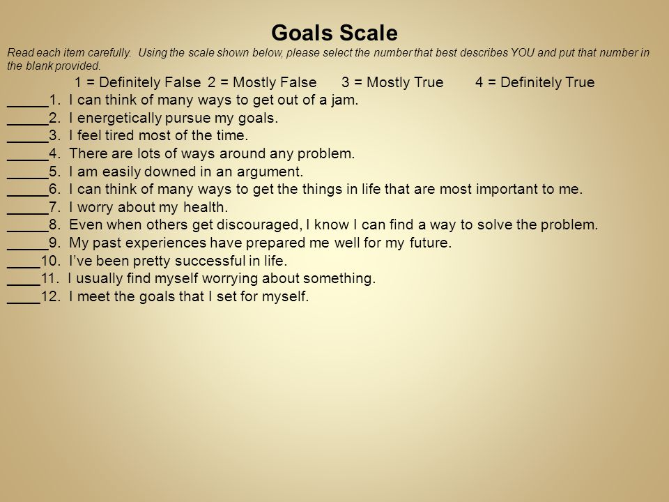 Goals Scale _____1. I can think of many ways to get out of a jam.