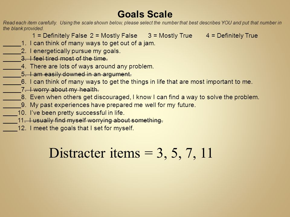 Distracter items = 3, 5, 7, 11 Goals Scale