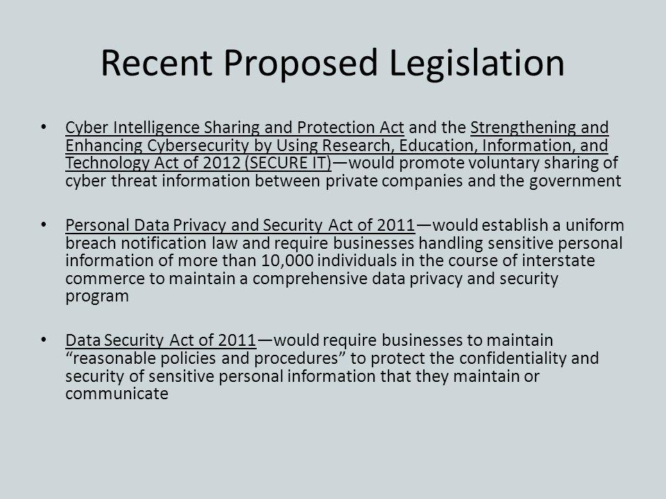 Recent Proposed Legislation