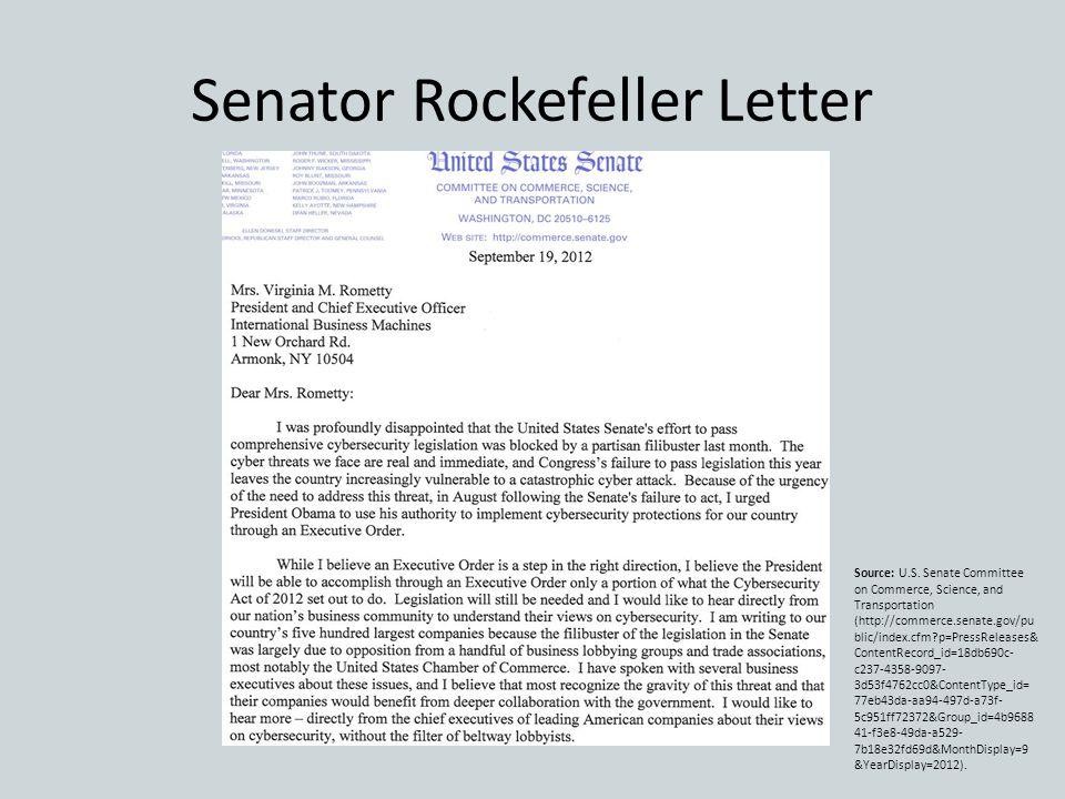 Senator Rockefeller Letter