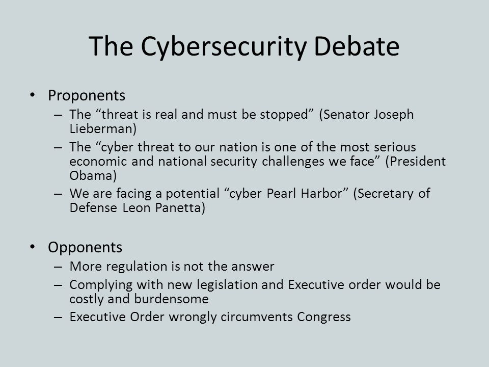 The Cybersecurity Debate