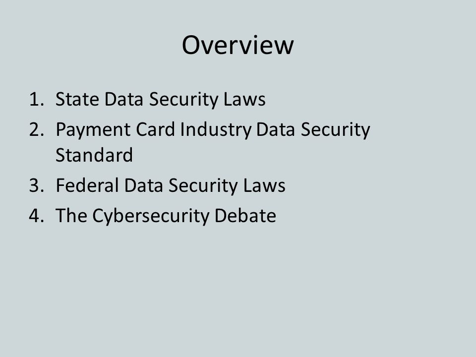 Overview State Data Security Laws