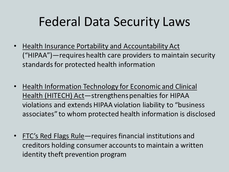 Federal Data Security Laws