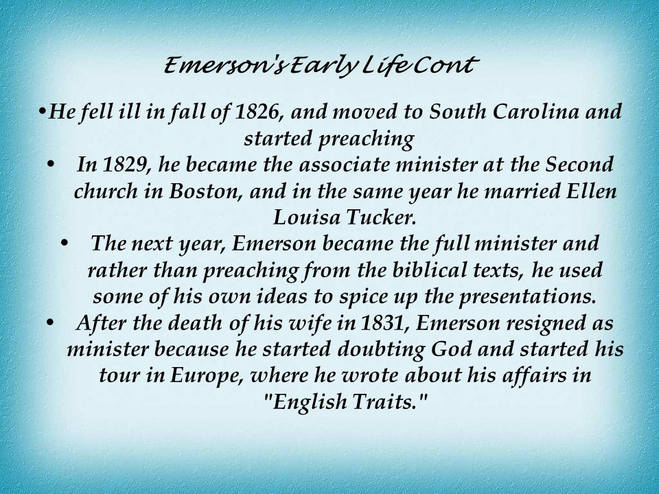Emerson s Early Life Cont