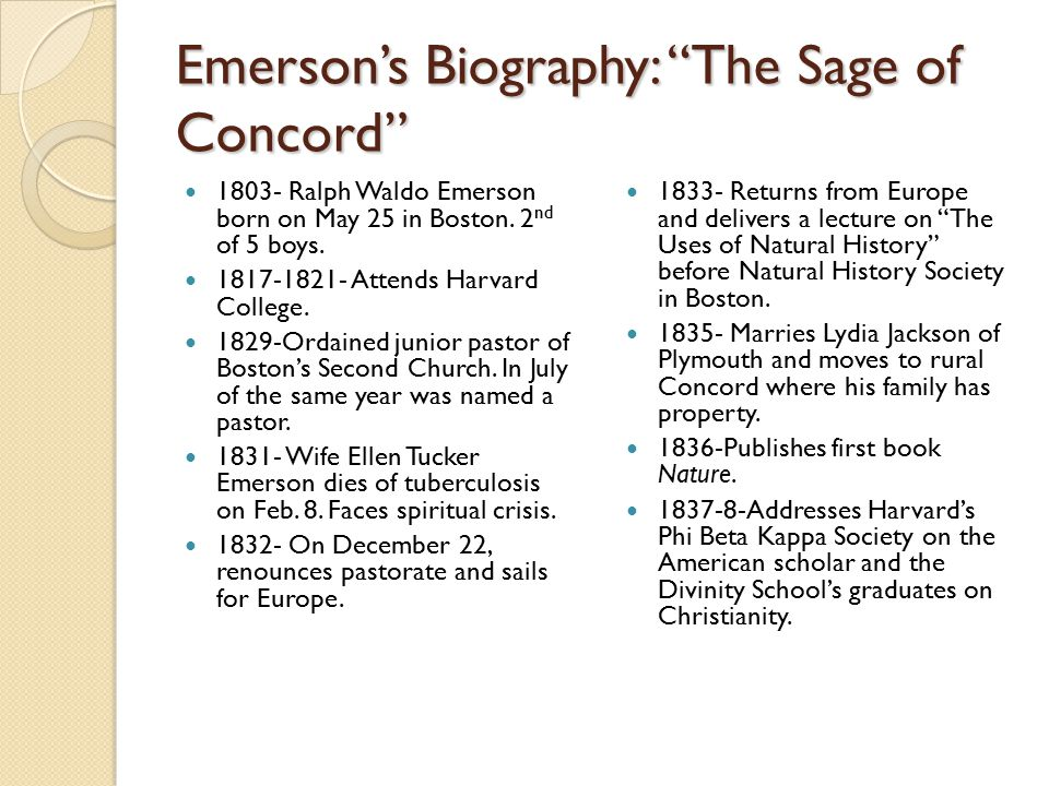 Emerson's Biography: The Sage of Concord