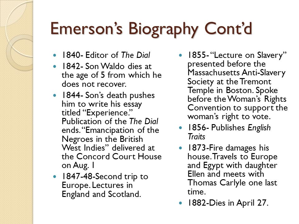 Emerson's Biography Cont'd