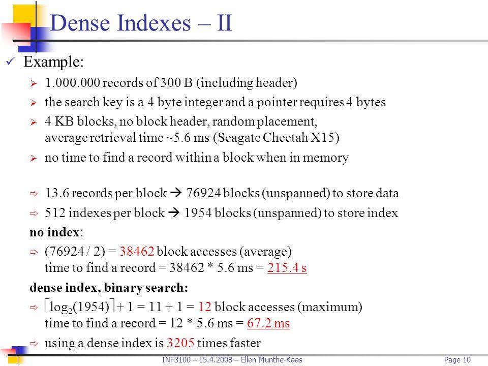 Dense Indexes – II Example: