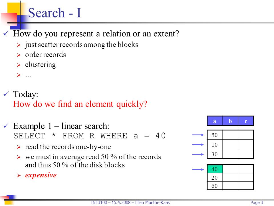Search - I How do you represent a relation or an extent