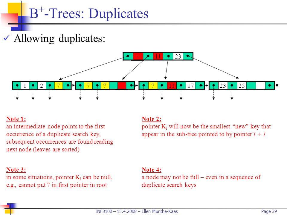 B+-Trees: Duplicates Allowing duplicates: - 11 23 1 2 7 7 7 11 17 23