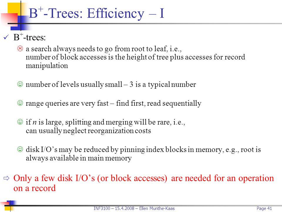 B+-Trees: Efficiency – I