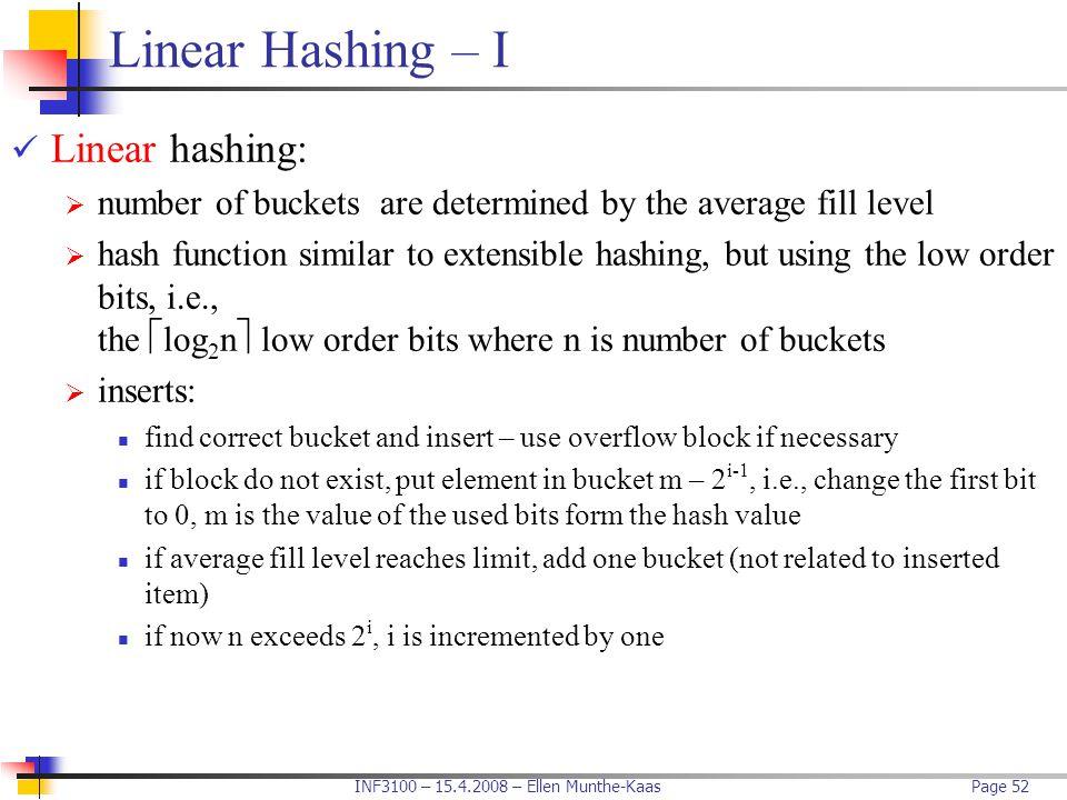 Linear Hashing – I Linear hashing: