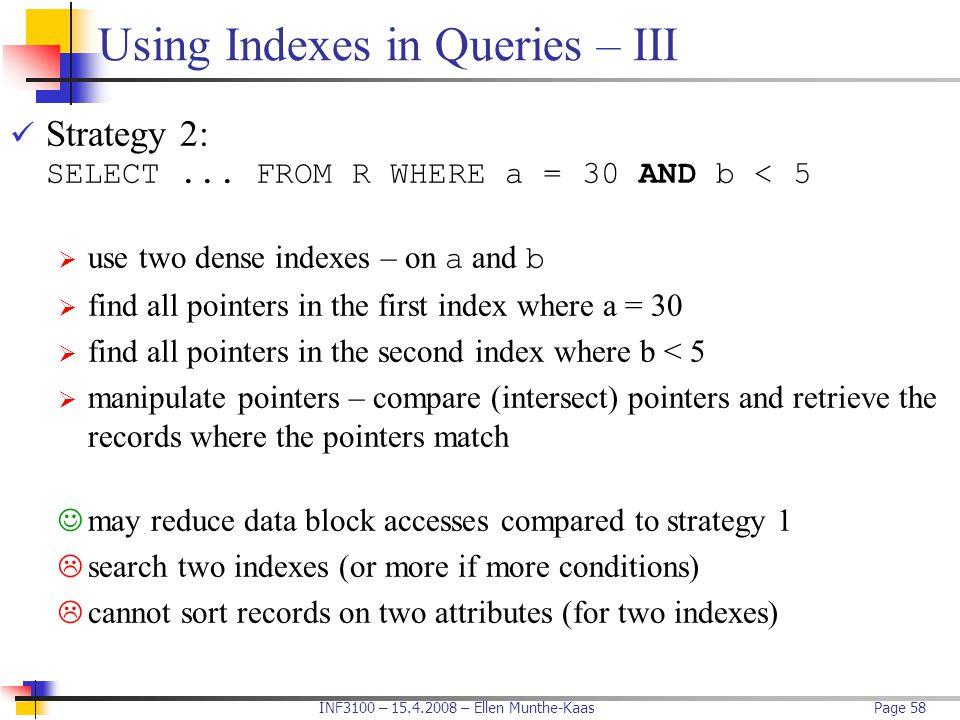 Using Indexes in Queries – III