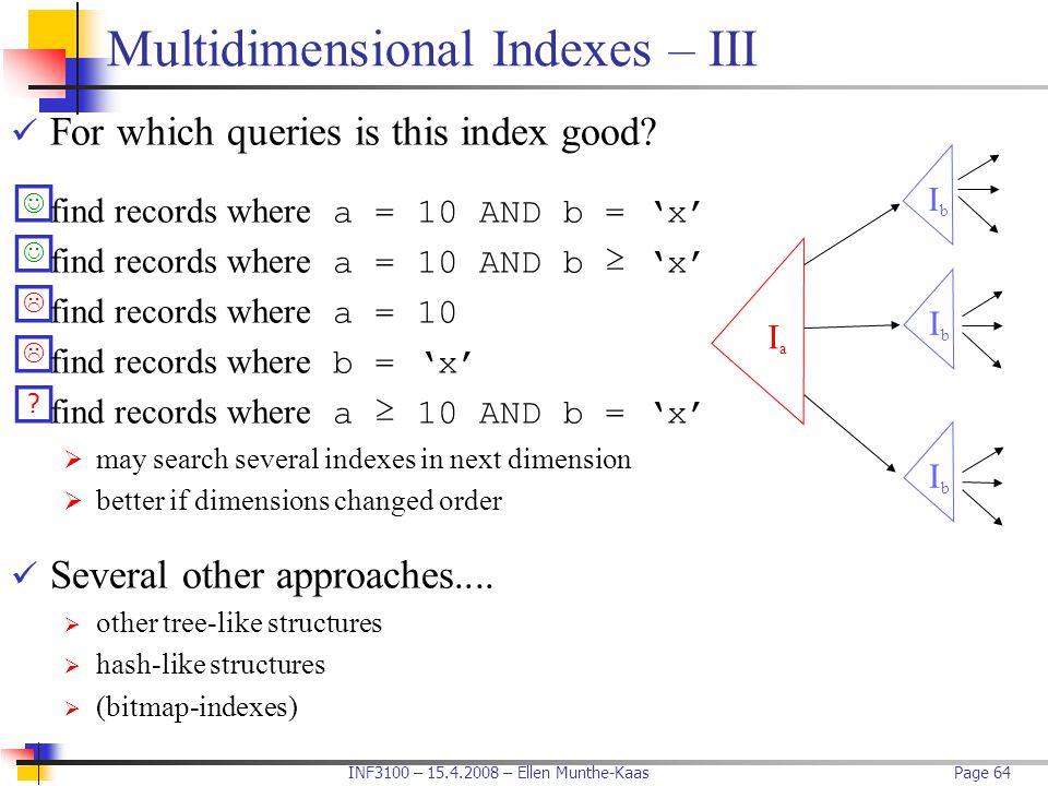 Multidimensional Indexes – III
