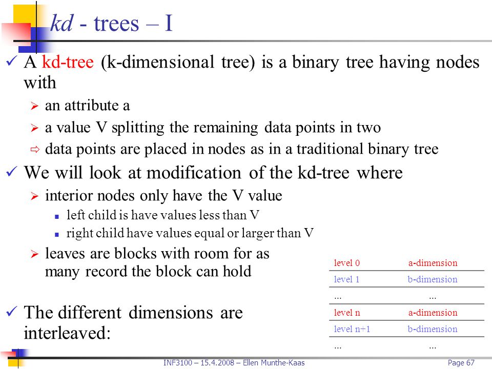 kd - trees – I A kd-tree (k-dimensional tree) is a binary tree having nodes with. an attribute a.