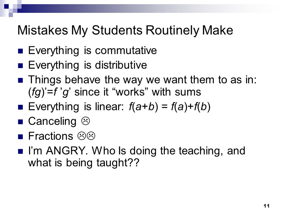 Mistakes My Students Routinely Make