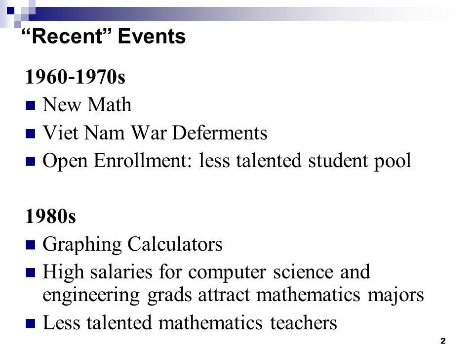 Recent Events 1960-1970s. New Math. Viet Nam War Deferments. Open Enrollment: less talented student pool.