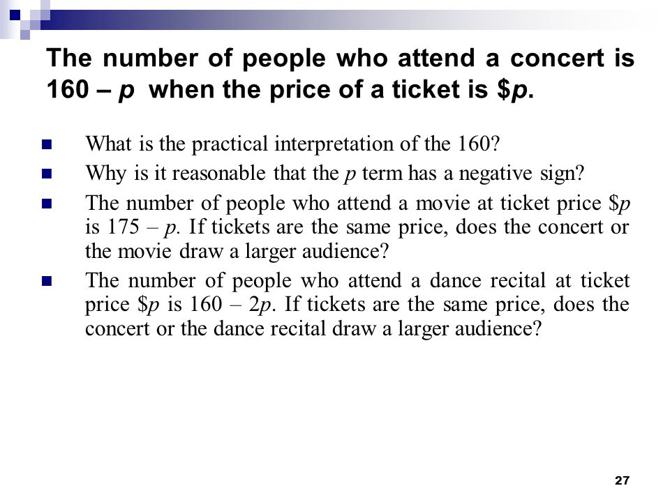 The number of people who attend a concert is 160 – p when the price of a ticket is $p.