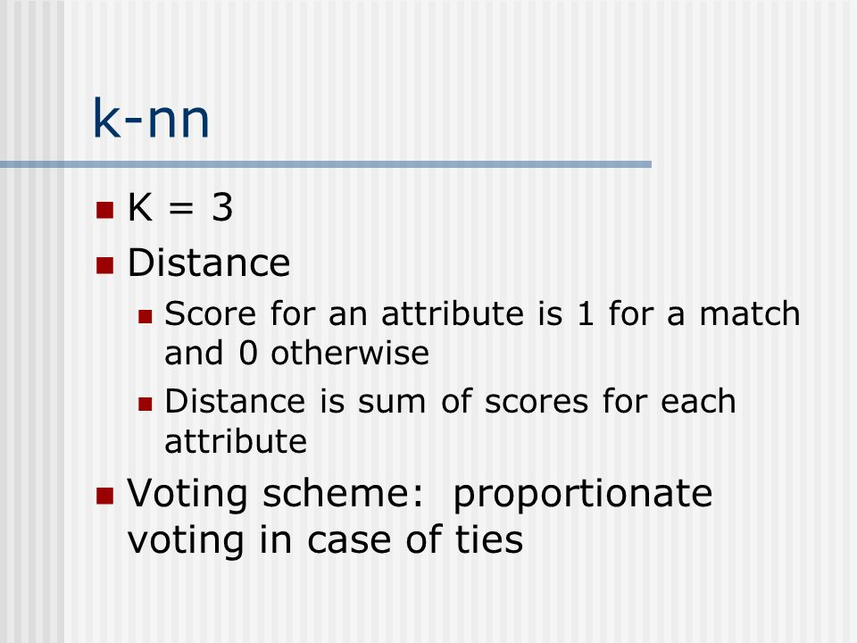 k-nn K = 3. Distance. Score for an attribute is 1 for a match and 0 otherwise. Distance is sum of scores for each attribute.