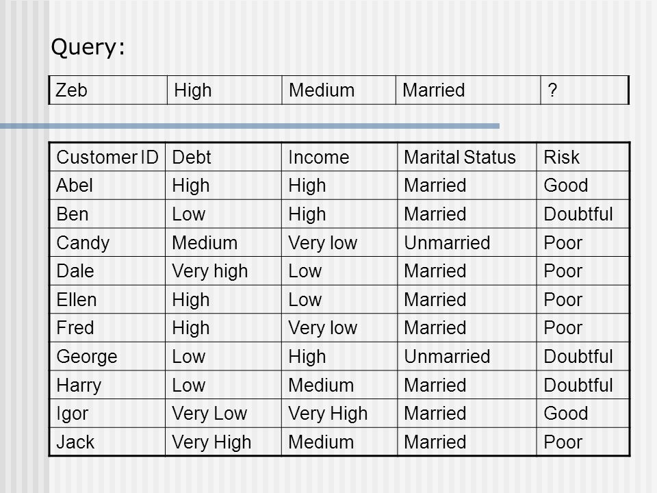 Query: Zeb High Medium Married Customer ID Debt Income