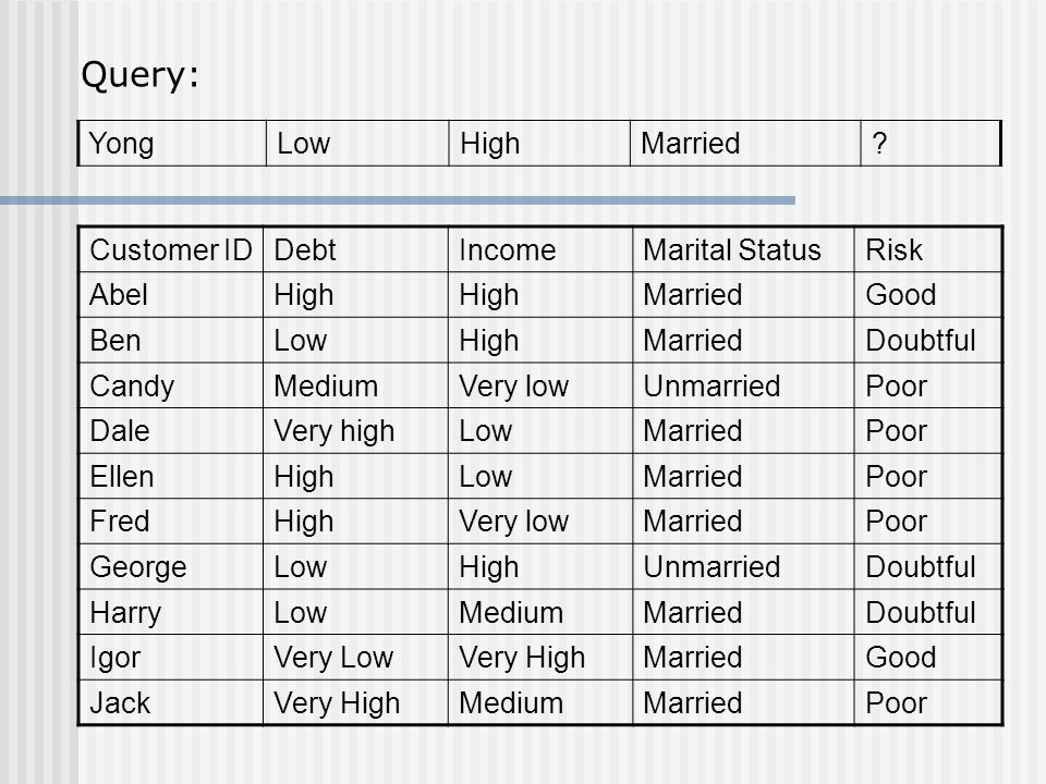 Query: Yong Low High Married Customer ID Debt Income Marital Status