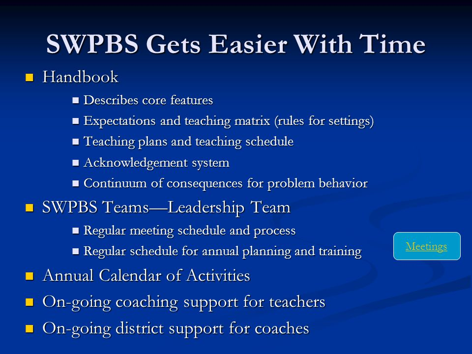 SWPBS Gets Easier With Time