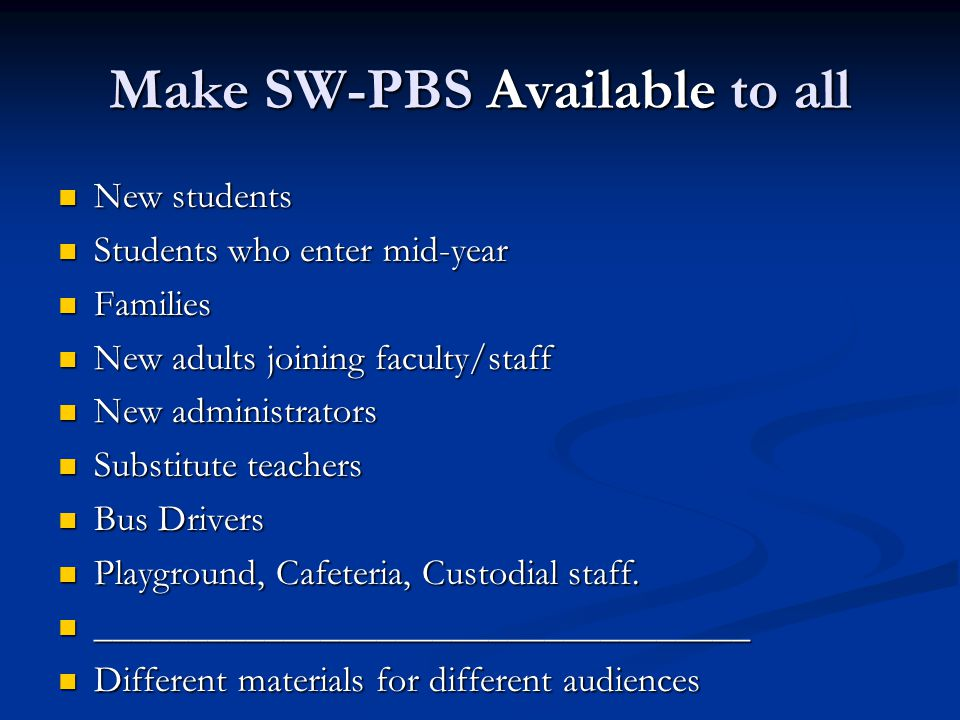 Make SW-PBS Available to all