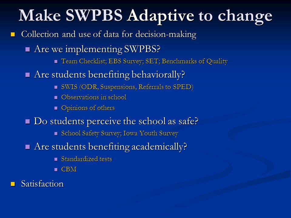 Make SWPBS Adaptive to change
