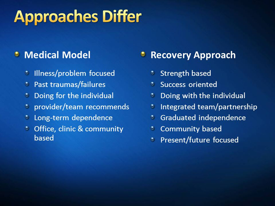 Approaches Differ Medical Model Recovery Approach
