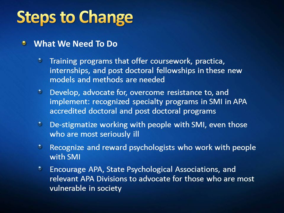 Steps to Change What We Need To Do