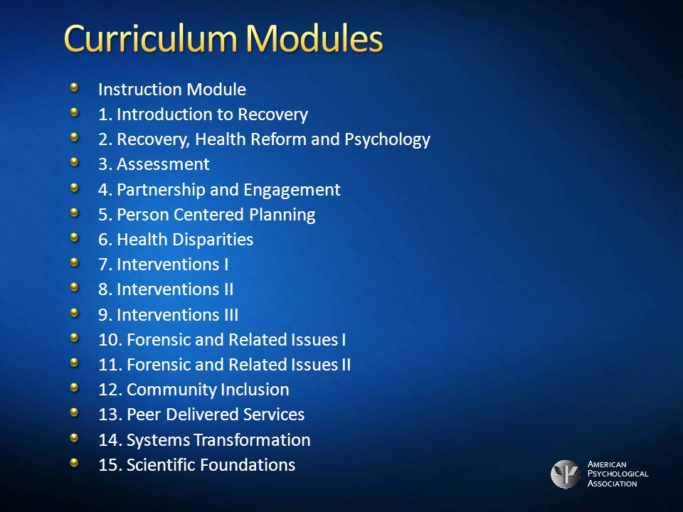Curriculum Modules Instruction Module 1. Introduction to Recovery