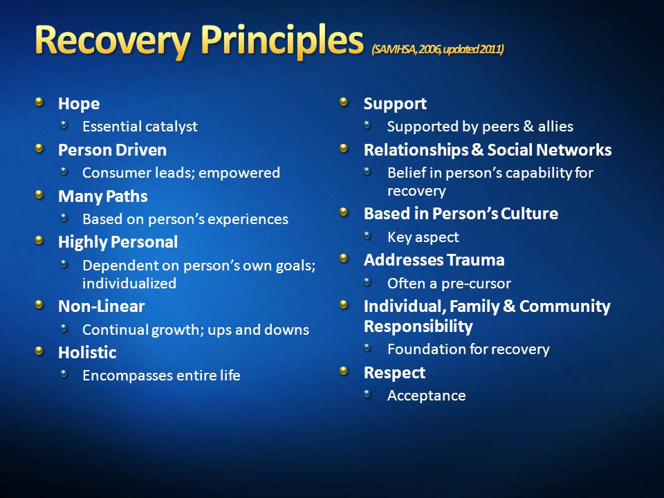 Recovery Principles (SAMHSA, 2006, updated 2011)