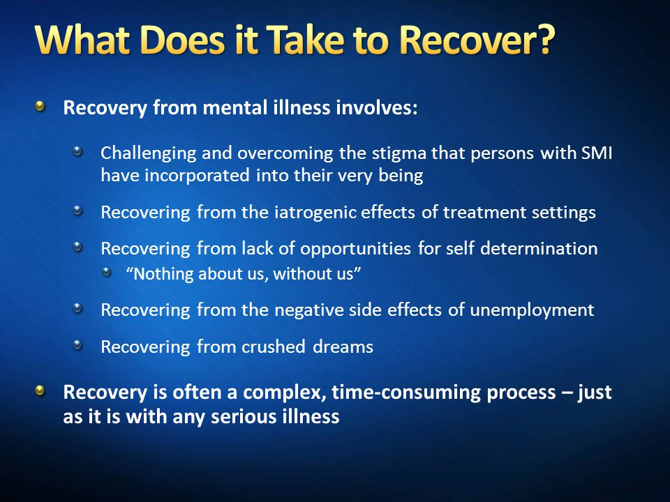 What Does it Take to Recover