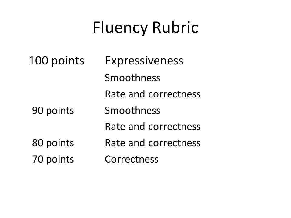 Fluency Rubric 100 points Expressiveness Smoothness