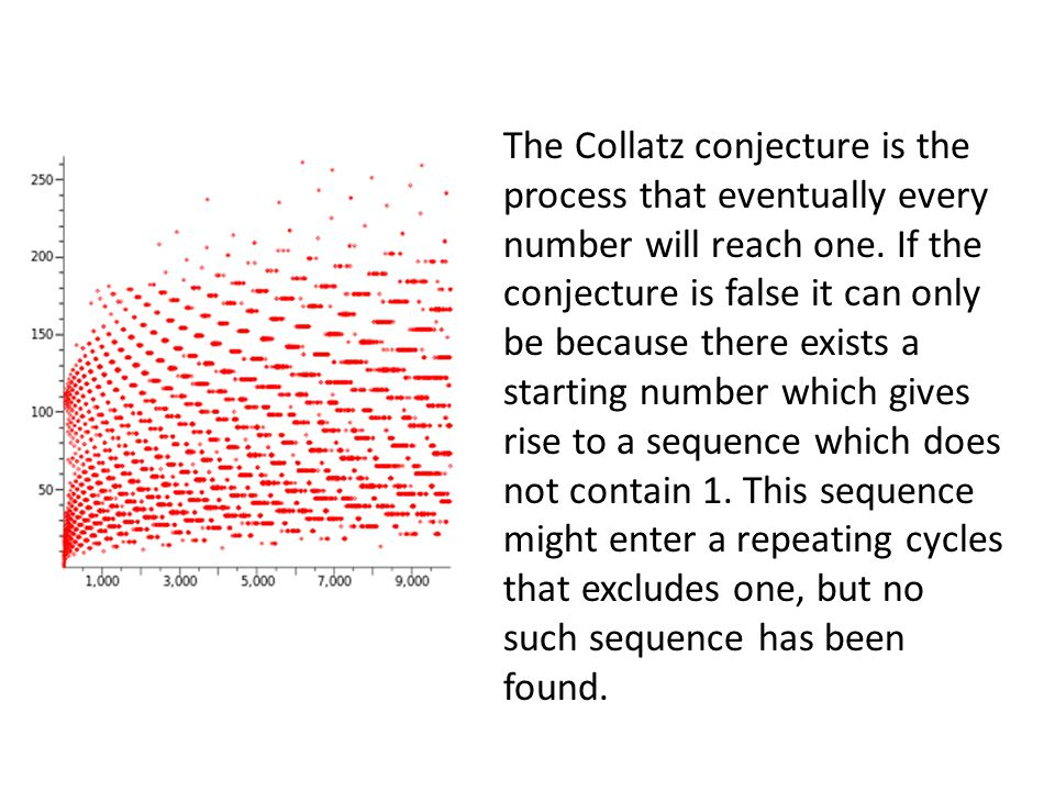 The Collatz conjecture is the process that eventually every number will reach one.