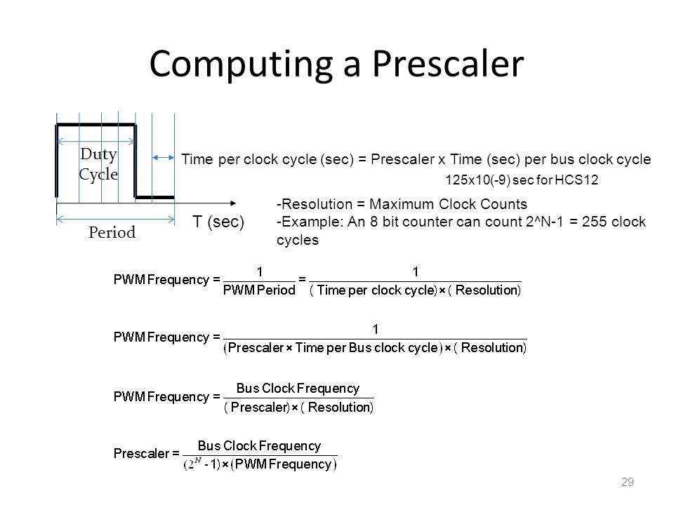 Computing a Prescaler Duty Cycle T (sec) Period