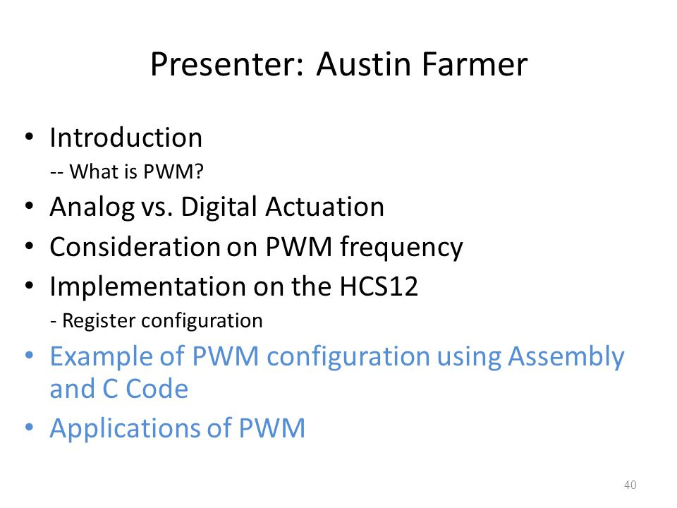 Presenter: Austin Farmer