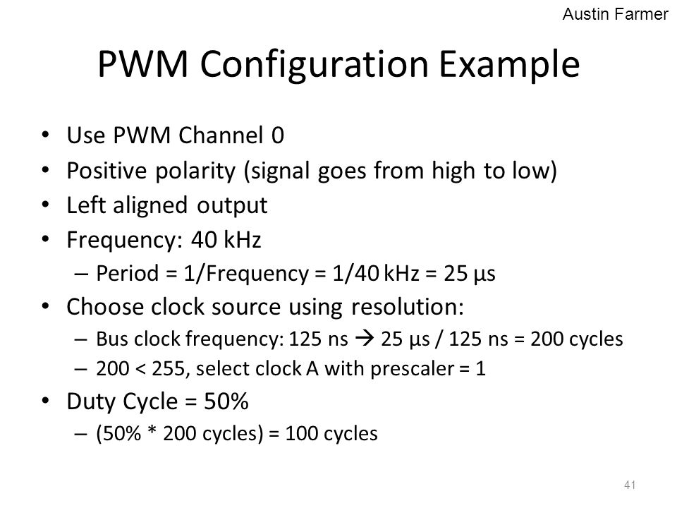 PWM Configuration Example