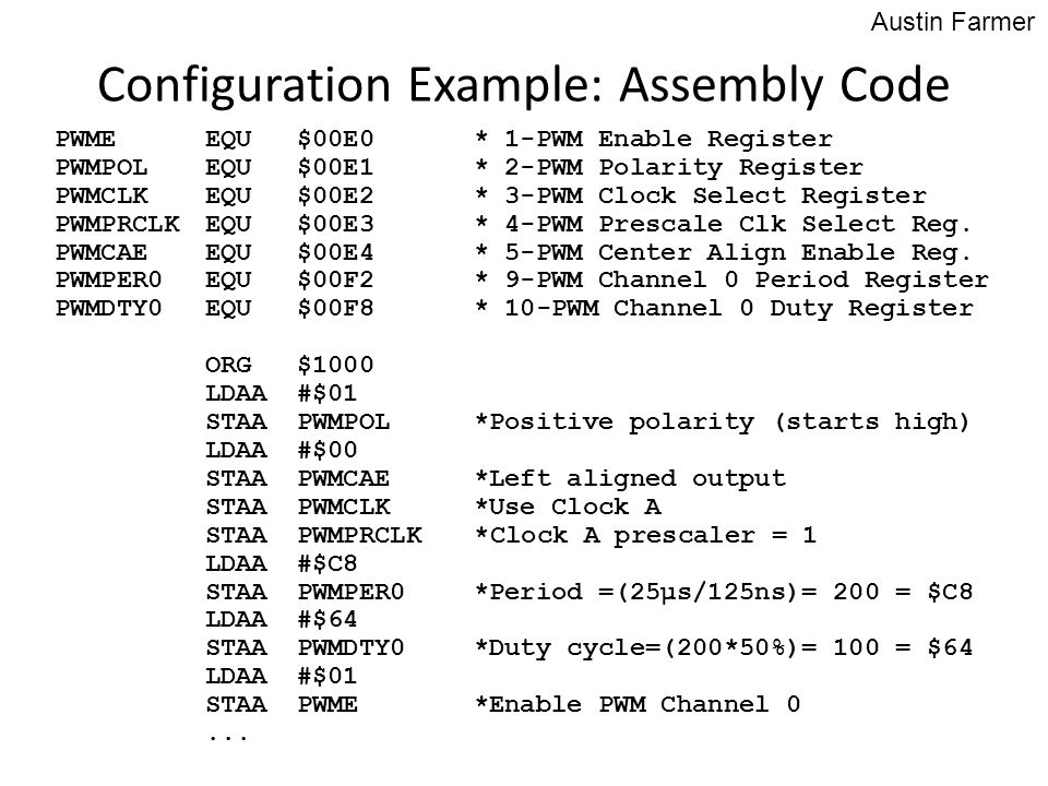 Configuration Example: Assembly Code