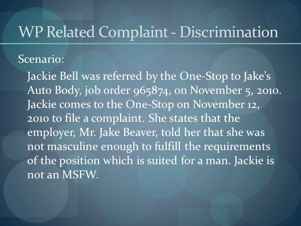 WP Related Complaint - Discrimination