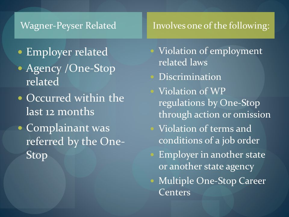 Agency /One-Stop related Occurred within the last 12 months