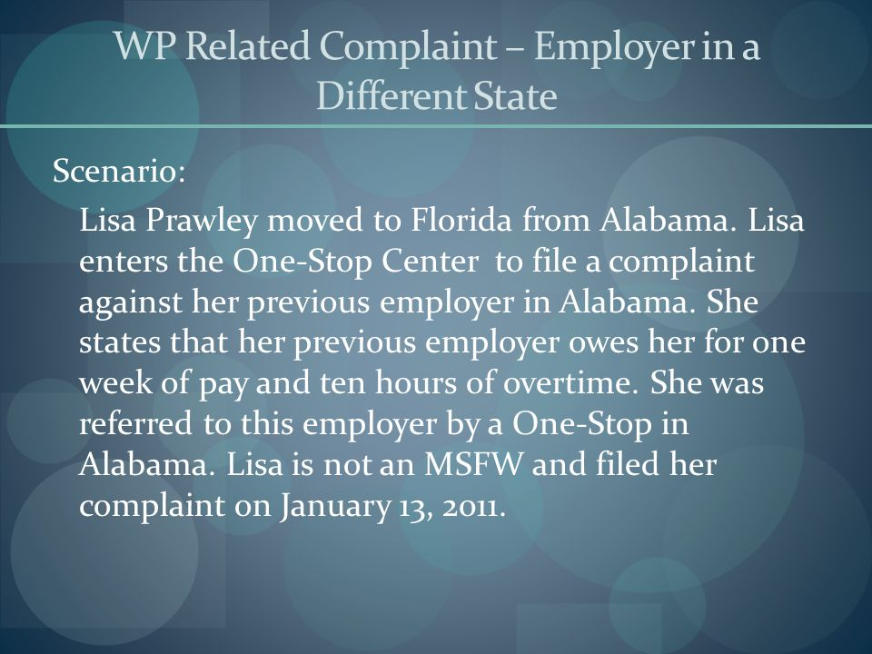 WP Related Complaint – Employer in a Different State