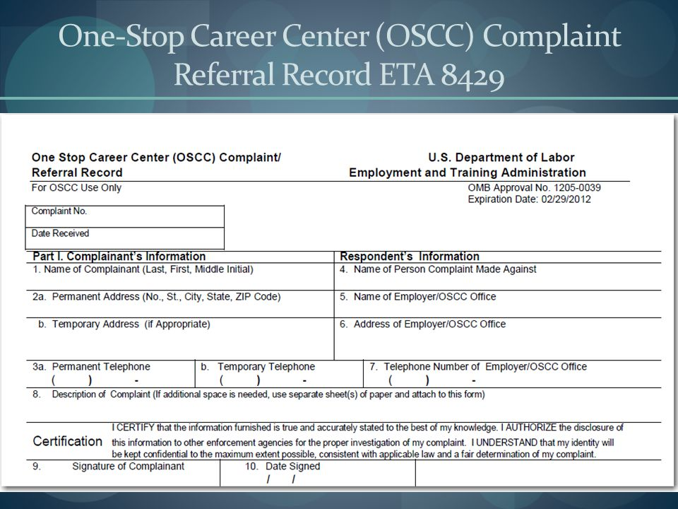 One-Stop Career Center (OSCC) Complaint Referral Record ETA 8429