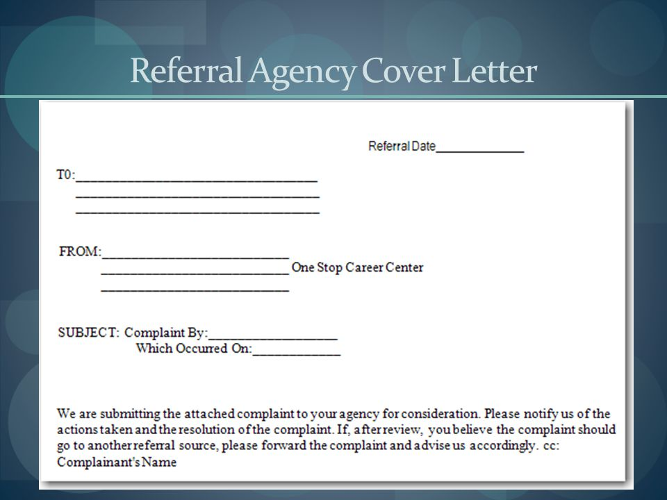 Referral Agency Cover Letter
