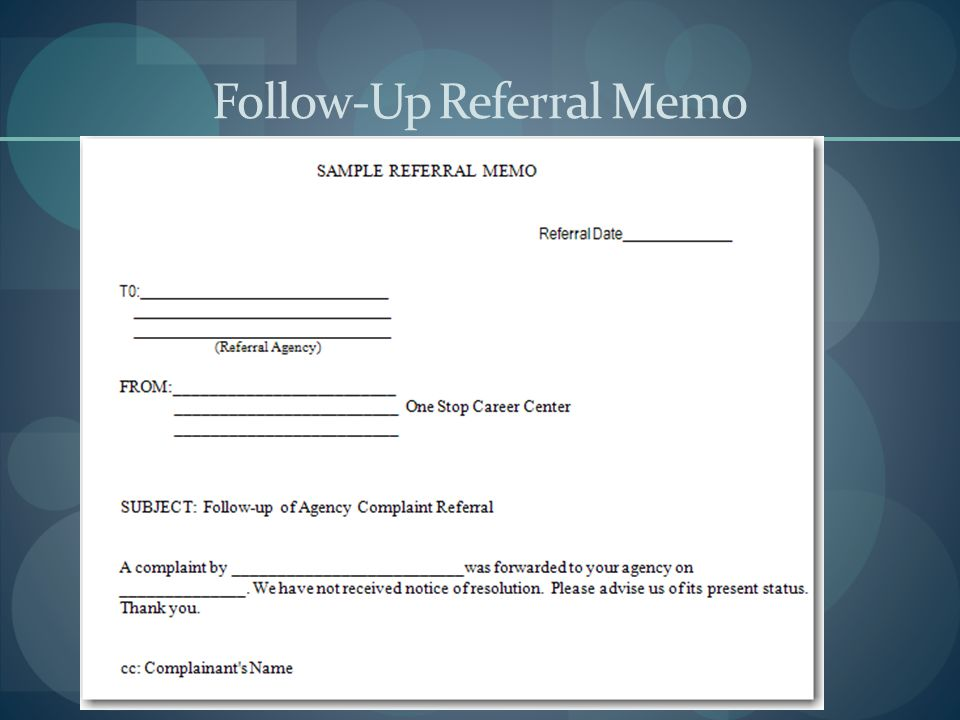 Follow-Up Referral Memo