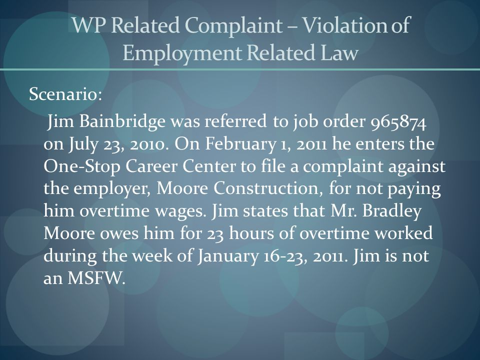 WP Related Complaint – Violation of Employment Related Law