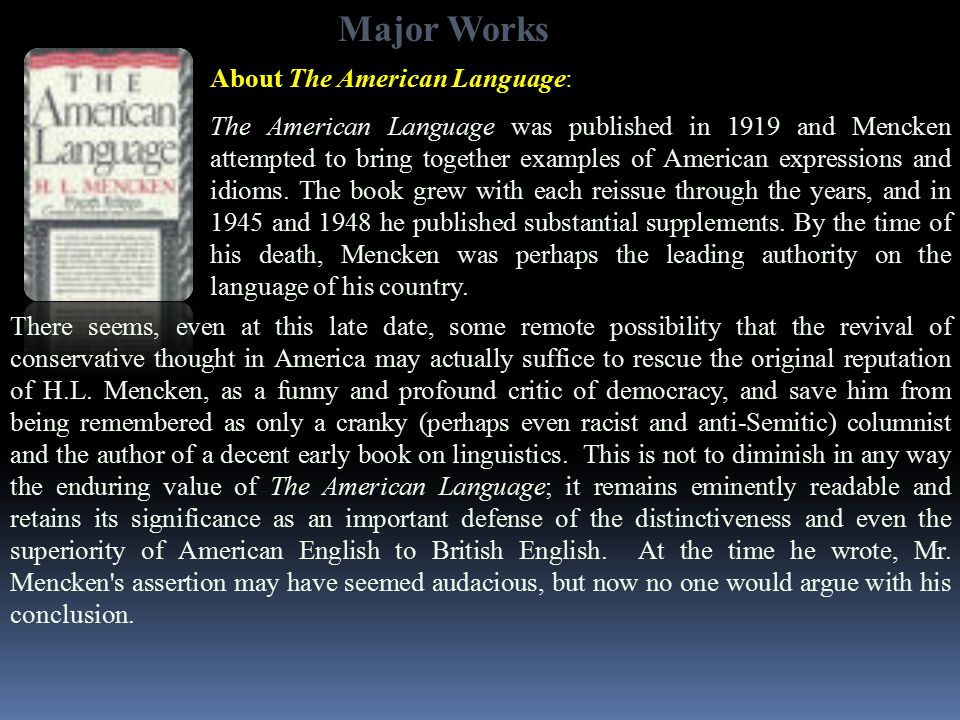Major Works About The American Language: