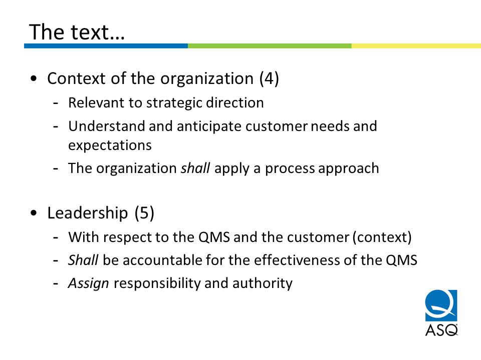 The text… Context of the organization (4) Leadership (5)