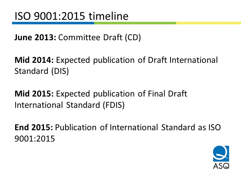 ISO 9001:2015 timeline
