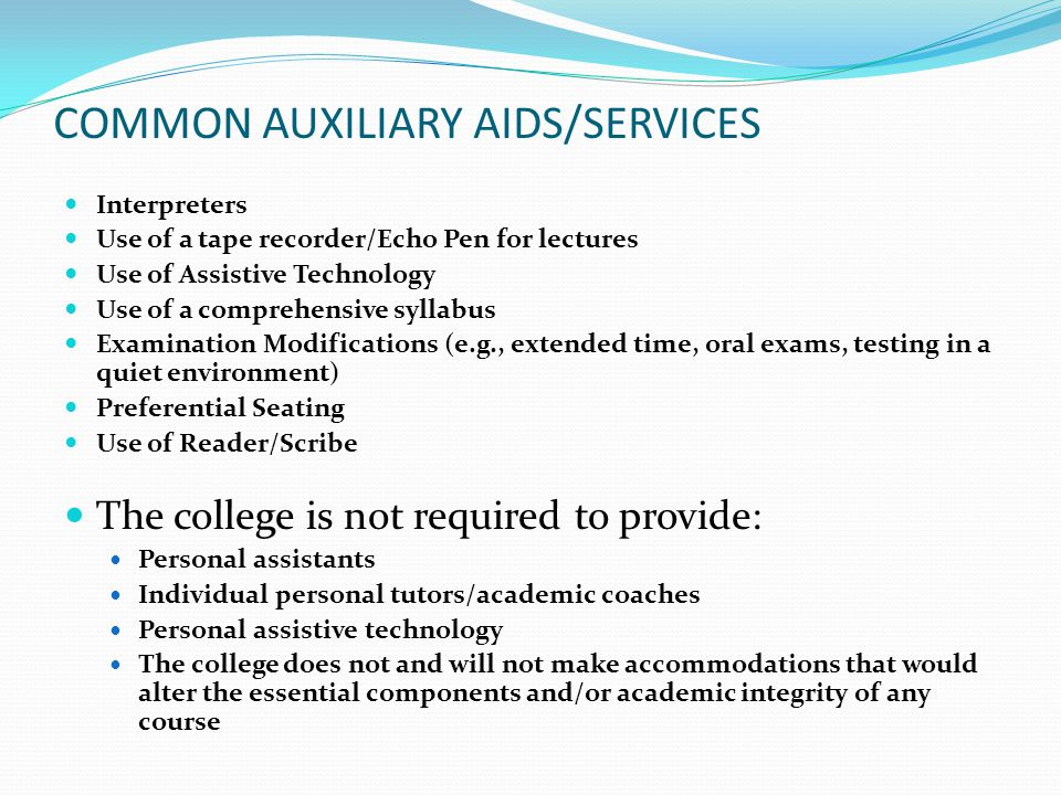 COMMON AUXILIARY AIDS/SERVICES